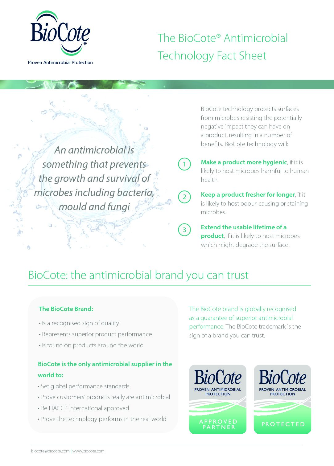 BioCote Fact Sheet (English)