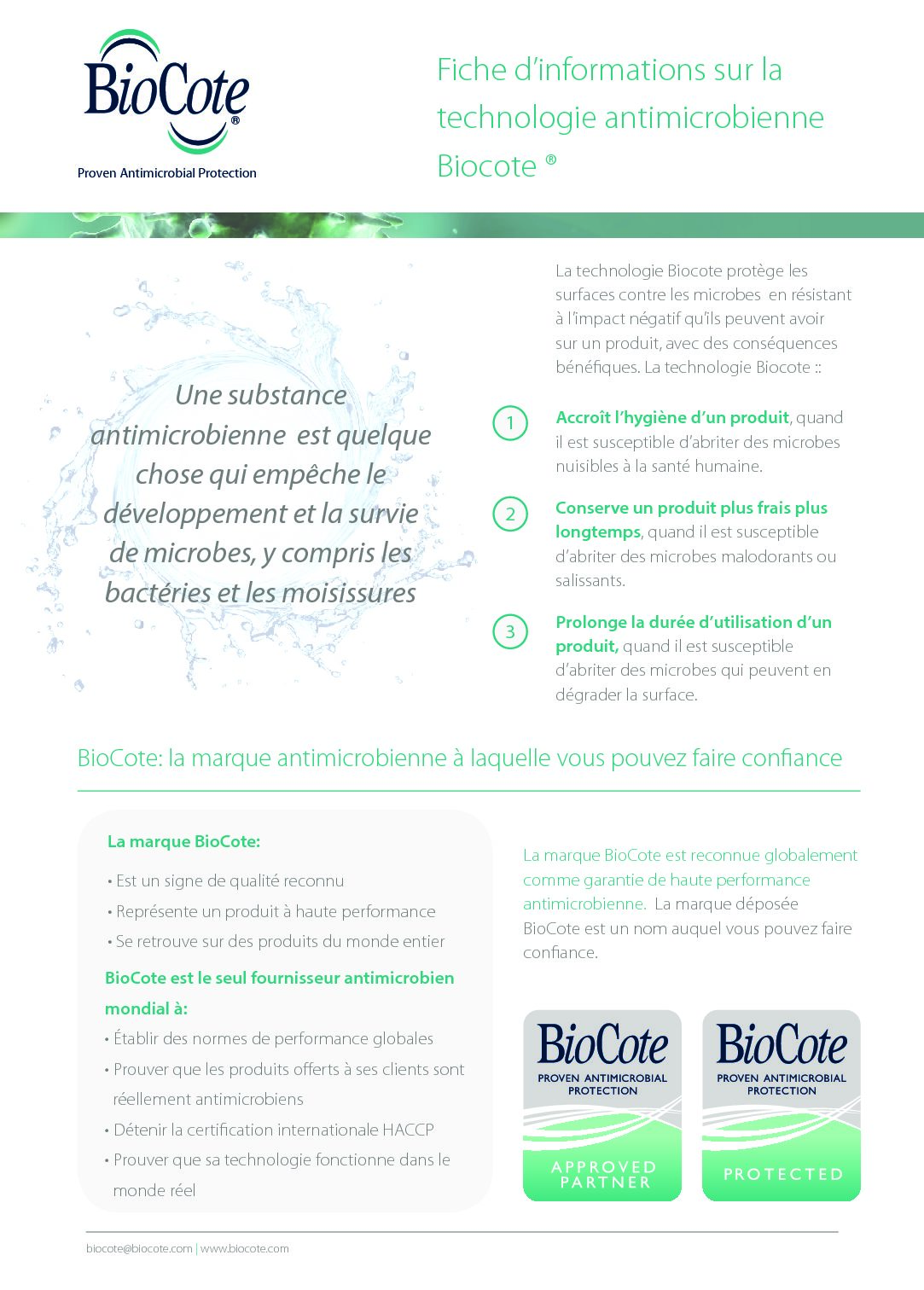 BioCote Fact Sheet (French)