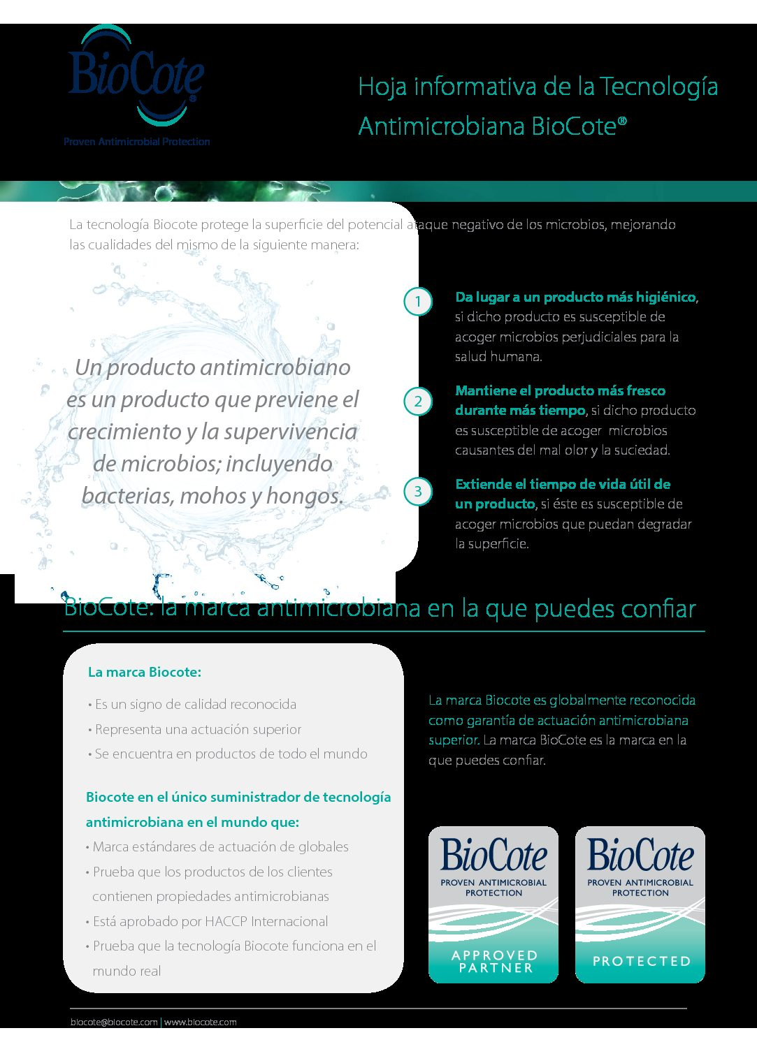 BioCote Fact Sheet (Spanish)