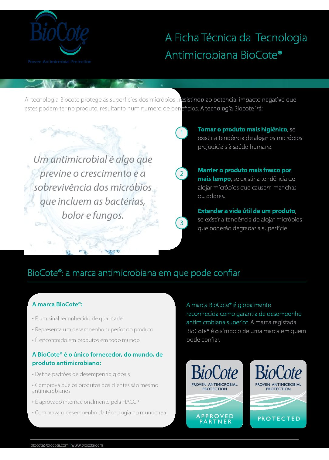 BioCote Fact Sheet (Portuguese)