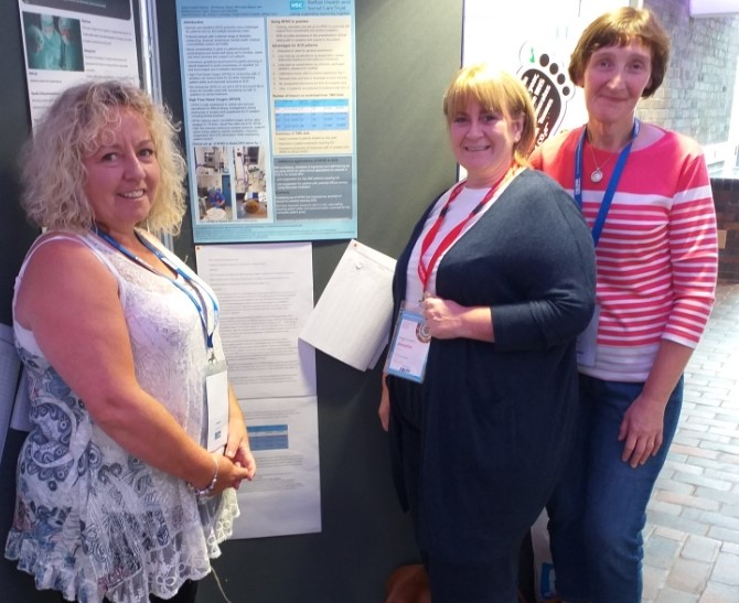 Annette Keenan, Audrey Woods and Laura Nelson with the winning poster in York.